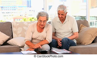 Mature couple calculating their domestics bills