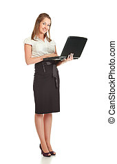 Young Businesswoman With Laptop - young businesswoman with...