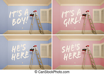 Maternity Series of Pink And Blue Empty Rooms with Ladder...