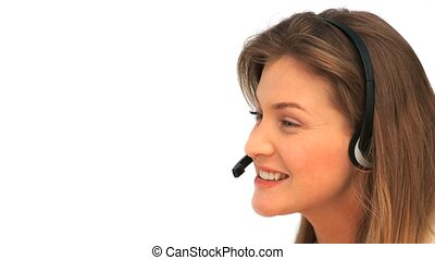 Woman with her headset