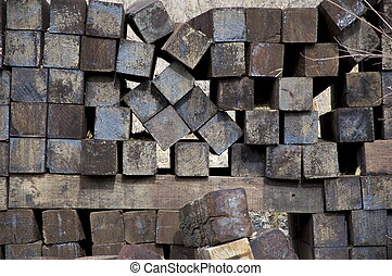 A stack of square Logs - A stack of square logs has lots of...
