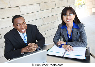 Young Diverse Business Team - A young diverse business man...