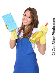 Cute Woman Maid - A cute woman maid cleaner with sponge and...