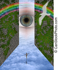 All knowing - Eye peers over strange cloudscape