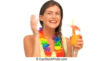 Woman in holidays with a cocktail
