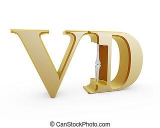 bones inside Vitamin D isolated on white background