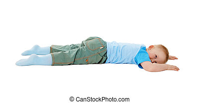 Child stumbled, fell and lay on white background - The child...