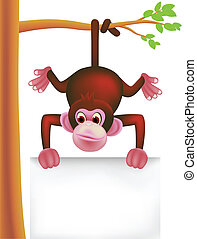 cute monkey - vector illustration of cute monkey and blank...