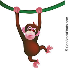 cute monkey - vector illustration of cute monkey