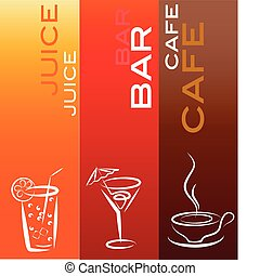 beverage icons with coffe, bar and juice ; design template