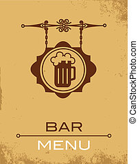 Ancient street signboard of beer house or bar, vector...