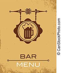antiguo, calle, signboard, cerveza, casa, o, barra