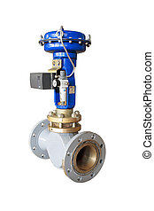 Air valve - Industrial pneumatic valve Isolated on white...