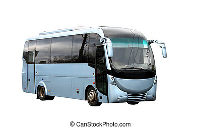 Futuristic bus - Blue coach with a futuristic design