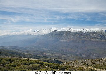 cloudly and mist mountain at Gredos - mountain of Gredos at...