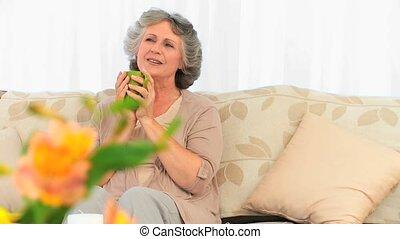 Woman enjoy her cup of tea
