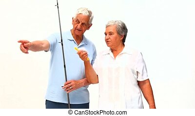 Mature couple fishing