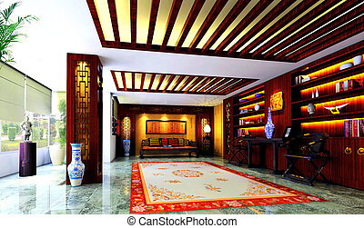 Elegant sitting room - Chinese style to decorate, sitting...