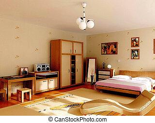 The bedroom - Custom bedroom, sofa bed, short cabinet