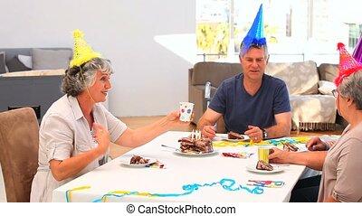 Elderly friends on birthday