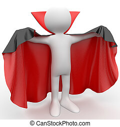 3D human dressed with a cape - 3D human dressed in a red...