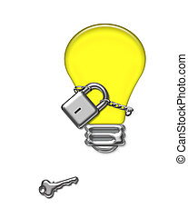 captive thoughts - lock and chain around a light bulb...