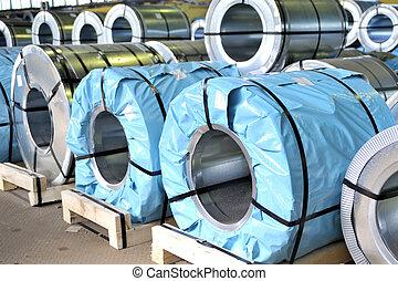 rolls of steel sheet packed