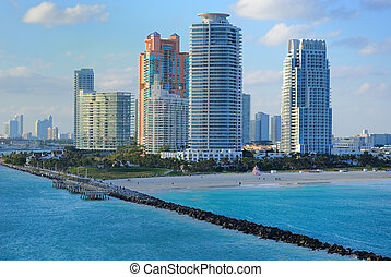 South Beach - Skyline of luxury high rise apartments on...