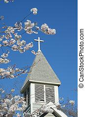 Rural Church - Cross atop a rural church seen from behind...