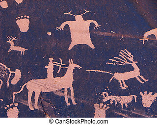 hunting petroglyph - petroglyph of hunter on horseback...