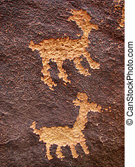 animal petroglyphs - Anasazi petroglyphs of two animals on...