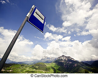 Bus Stop Sign in the Alps of Austria
