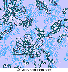 seamless absrtact background with flowers and butterflies -...