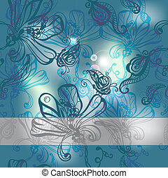 seamless absrtact background with flowers and butterflies, -...