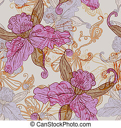 vintage seamless pattern with flowers - vector vintage...