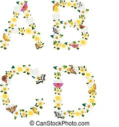 Alphabet of flowers and butterflies