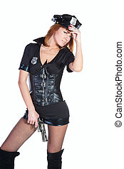 Sexy girl in police uniform on a white backgraund