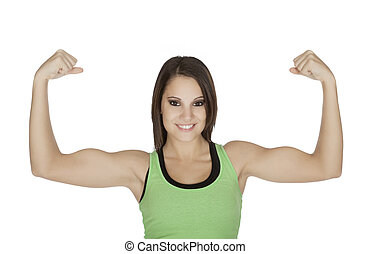 Woman - Beautiful woman flexing her muscles on a white...