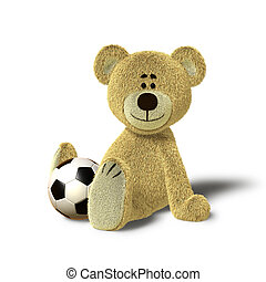 Teddy Bear sits on floor with Ball - A cute teddy bear is...