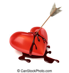 Strong bleeding heart with arrow - An arrow sits in a lying...