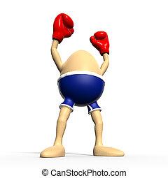 jajko, boks, -, najpoważniejszy, zwycięzca