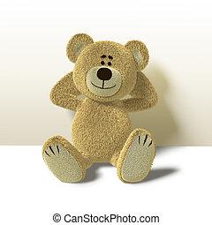 Teddy Bear Leans against Wall,Front - A cute teddy bear...