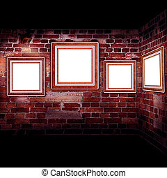 frames old leather on a brickwall - Art gallery. Frames old...