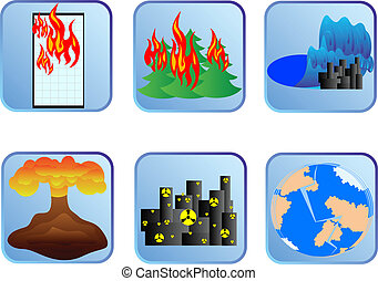 Natural disaster - Badges with natural disasters