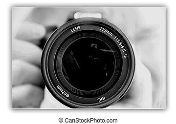 El fotografiar, lente, Manos, fotógrafo