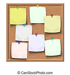 cork notice board with blank sticke