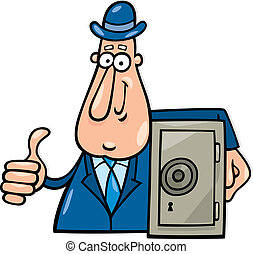 Man with safe - Cartoon illustration of man with safe