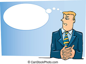 Thinking boss - Cartoon illustration of boss thinking