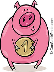 Pig with coin - Illustration of pig with coin