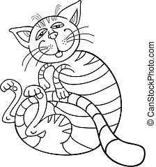 Happy Cat for coloring book - illustration of Happy Cat for...